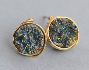 Clearance Peacock Rainbow Genuine Druzy Studs,Round Circle Rainbow Druzy Quartz Gemstone Post,Gold Filled,Gift For Her,Geode,Natural,Petite