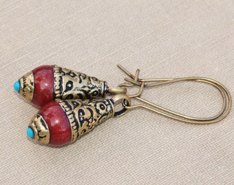 Vintage Tibetan Turquoise Coral Brass Inlay Earrings,Long Gemstone Inlay Beads,Solid Ornate Brass Beads,Mala Bead,Buddhist,Tribal,Modern