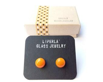 Orange Stud Earrings, Orange Fused Glass studs earrings, 8,5 mm glass studs