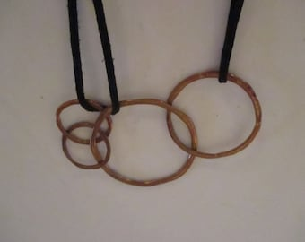 Handmade Necklace Copper Circles Rings Vintage Ringed Necklaces Black Suede Straps YourFineHouse SHIPSWORLDWIDE