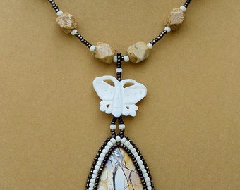 Brecciated Mookaite Necklace - Seed Bead Embroidered - OOAK - Rustic Earthy Stone - Australian Jasper - Butterfly Embroidery