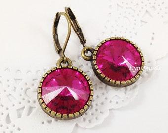 Pink Fuchsia Earrings - Swarovski Crystal Hot Pink Magenta Round Antique Bronze Settings Earrings