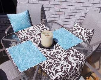 Almond, chocolate, teal quilted table runner and placemat set.  Botanical. Serene.   Reversible. Fall autumn.