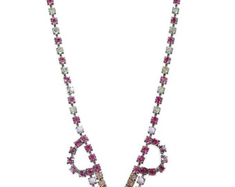 Hot Pink, Peach & Lavender Rhinestone Necklace Hand Painted Jewelry 1950s Modern Bridesmaid Pastel Translucent 1000484