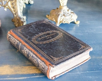 Antique German Prayer Book with Hymns, Leather Bound, Monogrammed on Front with Date