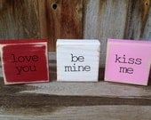Cute Valentine's Day wood Block set and Home decor with vinyl lettering