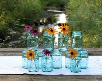 12 Vintage PINT Aqua Ball Mason Jars NO Lids - Farmhouse to Cottage Decor - Beach - Garden ~  Barn ~ Wedding Decor ~ Insurance with Shipping