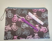 Pink and Gray Bicycles Padded Craft Storage Pouch S79