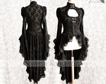 Victorian cardigan, Steampunk robe, black lace overcoat, Maeror, Somnia Romantica, size small - medium see item details for measurements