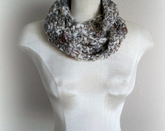 the hand spun series. art yarn infinity scarf. one of a kind  ~ pebbles in the snow~