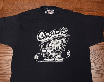 vintage 80s Grady's t-shirt You Rock We Roll Fast Times Cheap Booze Quincy IL Illinois 1980 tee shirt bar party drinking large L