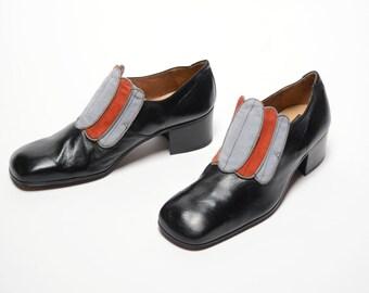 vintage 70s Fratelli platform shoes high heel men shoe black leather red gray suede pimp shoes slip on 1970 disco 9.5 9 1/2