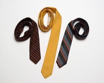 vintage 50s 60s skinny tie collection 1950 1960 menswear stripe solid necktie Superba Focus Hut deadstock NOS