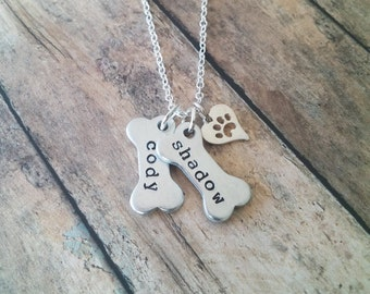 Personalized Pet Jewelry // Dog Paw Necklace // Dog Jewelry // Paw Print // Pet Memorial // Dog Bone Charm Necklace // Hand Stamped Jewelry