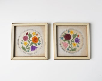 Set of 2 Vintage Framed Floral Embroidery Pictures