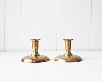 Pair of Mid Century Atomic Brass Candle Holders