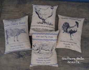 Farm Chicken Rooser Cow and Pig Feed Sack Pillows