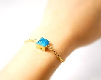 Tiny Square Druzy Bracelet - Agate Quartz Crystal Bracelet - Modern Simplicity Jewelry