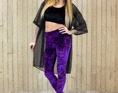 Crystal Ball Purple Velvet Leggings (made to order)