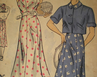 Rare 1930's Du Barry Halter Dress and Bolero Jacket Sewing Pattern 1731B, Size 18, Bust 36