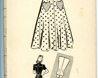 1940s Marian Martin Mail Heart Pocket Dress Sewing Pattern 9361, Size 16, Bust 34