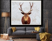 """Deers head photography, antlers. taxidermy, fine art photography, home decor - """"Victorian Curios"""""""