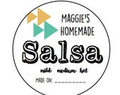"""CUSTOM 2"""" homemade salsa stickers labels -Personalized - Favor -KRAFT or WHITE - round/circle seals/Stickers/labels - fits mason jar"""