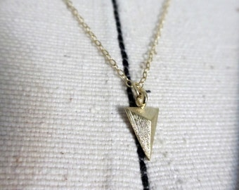 Single Brushed Gold Plated Triangle Pendant Minimalist Layering Necklace // Cyber Monday // Gifts for her under 20 // Black Friday // Bride