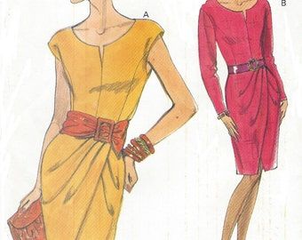 90s Womens Dress with Mock Wrap Skirt Vogue Sewing Pattern 8050 Size 8 10 12 Bust 31 1/2 to 34 UnCut Very Easy Very Vogue Patterns