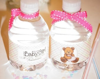 Baby Girl water bottle label, Baby Boy water bottle label, baby shower favors, baby shower labels, teddy bear water bottle labels.