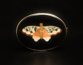 "14K Pietra Dura Butterfly Brooch Hard Stone Florentine, Italy Mosaic 1.75"" Long"