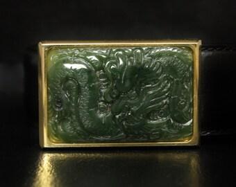 18K Dragon Jade Belt Buckle Green Nephrite Jade Yellow 18K Gold Filled