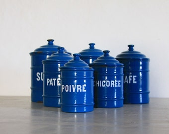 Antique French Enamel Kitchen Canister Set of 6 Petrol Blue Canisters.