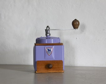 French Vintage Peugeot Coffee  Grinder, Coffee Mill,  Lavender Enamel 1940s Burr Grinder Fully Restored