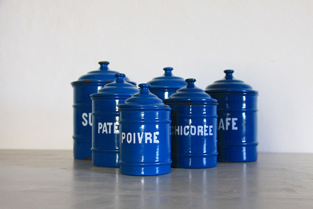 kitchen canisters french antique enamel kitchen canister set of 6 petrol blue 12965