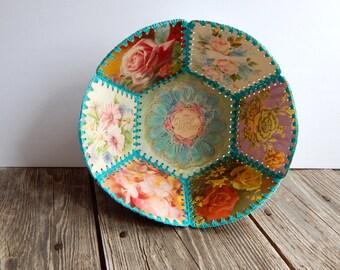 Vintage Crocheted Postcard Bowl for Mother, old fashioned crafts, postcard craft, crocheted bowl