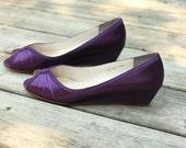 Purple Wedding Shoes Wedge Low heel -- 1 inch wedge shoes