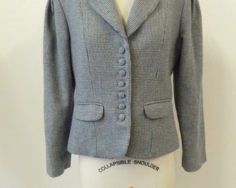 1970s Equestrian Fitted Tweed Blazer Women's Small