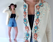 vtg 60s cream HUDSONS BAY turquoise beaded Knit SWEATER Med/Large embroidered wool boho cardigan coral