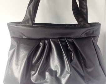 Faux Leather Large Black Tote
