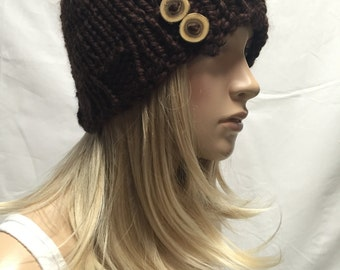 Knit Hat Beanie Dark Brown With Wood Buttons Cozy And Warm
