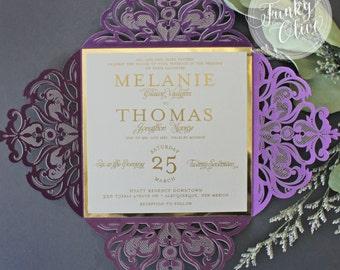 purple gold wedding invitations   etsy, Wedding invitations