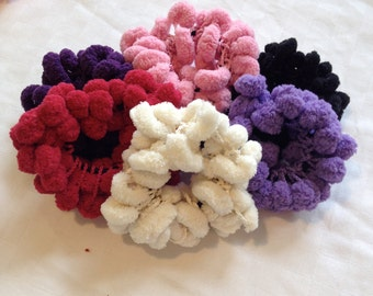 Lot of 6 Girls Kids hair scrunchi's pompom ponytail holders hair accessories