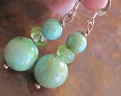 Green Turquoise Peridot Earrings Rough Raw Natural Organic Artisan Handcrafted Gem Rock Drop Earrings Jewelry