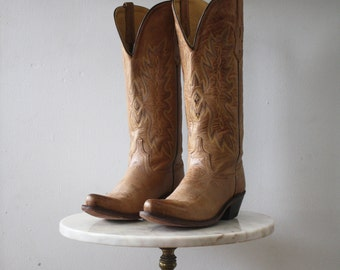 Tall Cowboy Boots - 7.5 Women's - Leather Tan Brown Blonde - 1980s Vintage