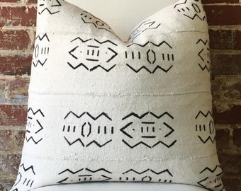 Alabaster Mud Cloth Pillow w/ down insert - #1