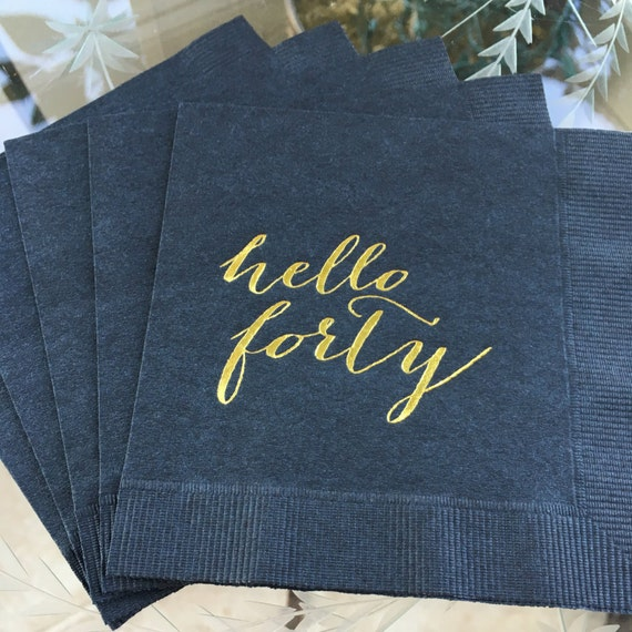 Black And Gold Beverage Napkins: 40th Birthday, Hello Forty, Gold Cocktail Napkin, Gold