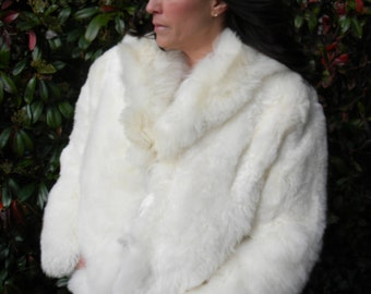Beautiful natural cream sheepskin wool coat / jacket