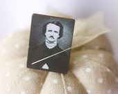 Edgar Allan Poe Needle Minder : magnet cross stitch hand embroidery tool vintage look October Halloween macabre mystery stories