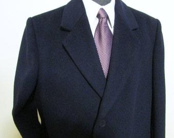 Vintage BOULEVARD CLUB Mens Cashmere Wool Overcoat, Size 44 R , Winter Coat, Dark Navy Blue Dress Coat, Full Length Overcoat, Excellent Cond